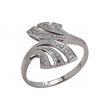 Кольцо с фианитом из белого золота 76944