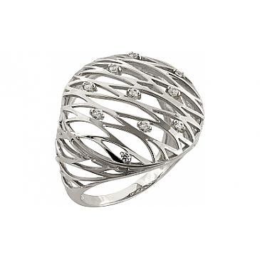 Кольцо с фианитом из белого золота 95037 от EVORA