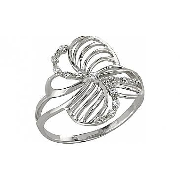 Кольцо с фианитом из белого золота 98447