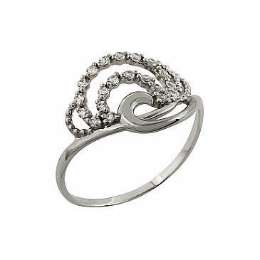 Кольцо с фианитом из белого золота 98384