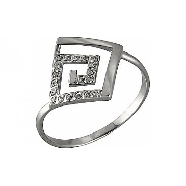 Кольцо с фианитом из белого золота 98474