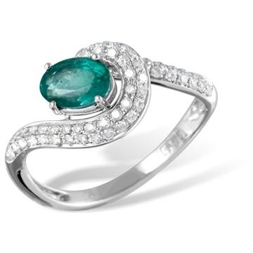 Кольцо  с бриллиантами и изумрудом из белого золота MR6144WGem от EVORA