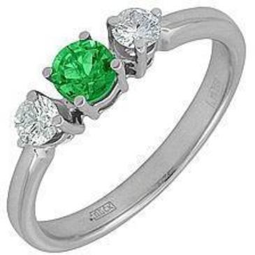 кольцо c изумрудом из белого золота 18431548 от EVORA