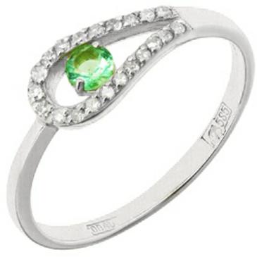 кольцо c изумрудом из белого золота 11434278.17 от EVORA