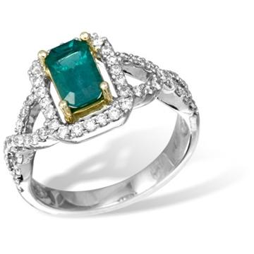Кольцо из желтого и белого золота с бриллиантами и  изумрудом из белого золота R26209YWem от EVORA