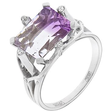кольцо c кварцем из белого золота 13887542