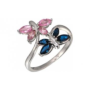 Кольцо с синими и розовыми сапфирами из белого золота 7081