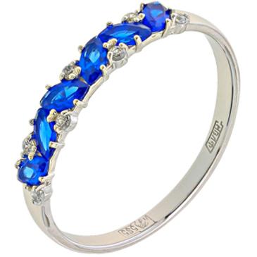 кольцо c шпинелью синтетической из белого золота 13118245