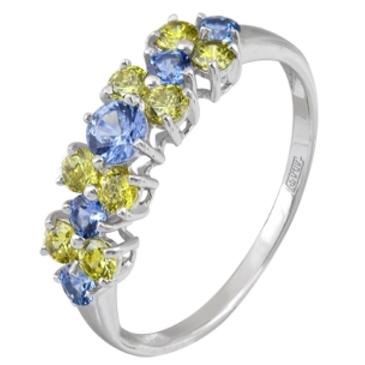 кольцо c шпинелью синтетической из белого золота 13118024