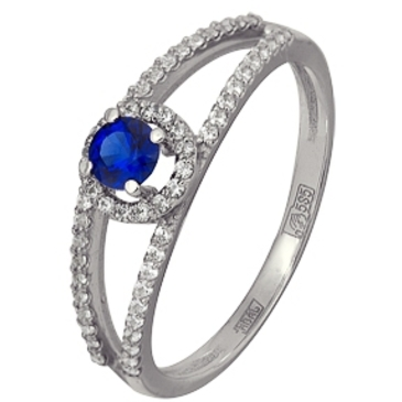 кольцо Искушение cо шпинелью синтетической и фианитами из белого золота 13118552