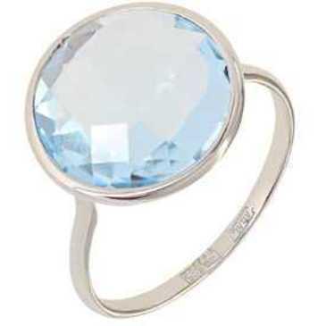 кольцо c большим круглым топазом из белого золота 13803269