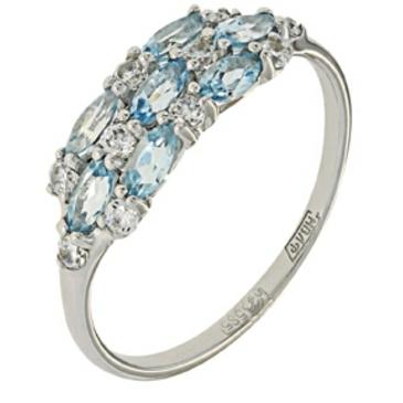 кольцо c топазами из белого золота 13828154