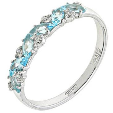 кольцо c топазами из белого золота 13828245