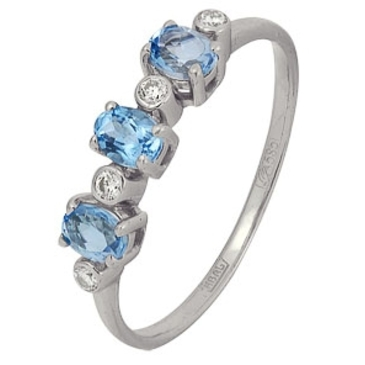 кольцо c топазами из белого золота 13838320