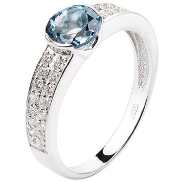 кольцо c топазом из белого золота 13837416