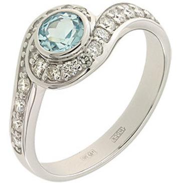 кольцо c топазом из белого золота 13837679