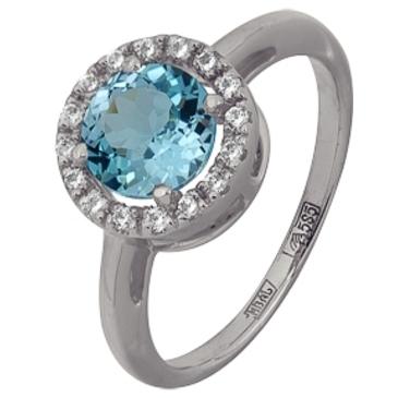 кольцо c топазом из белого золота 13828509