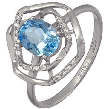 кольцо c топазом из белого золота 13834631