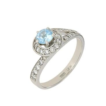 кольцо c топазом из белого золота 13837677
