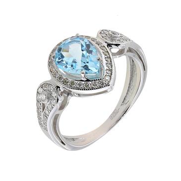 кольцо c топазом из белого золота 13839012