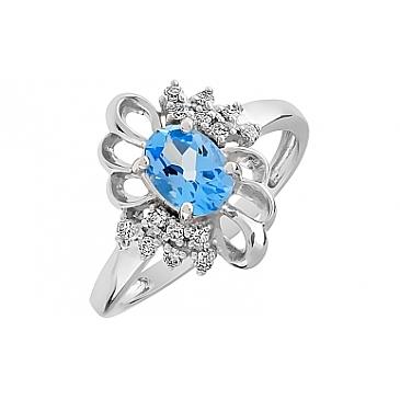 Кольцо с бриллиантами и топазом из белого золота 85137