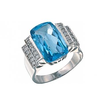Кольцо с бриллиантом и топазом из белого золота 7101