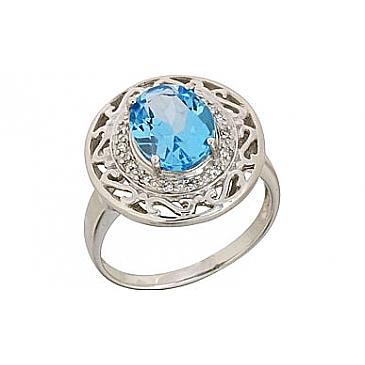 Кольцо с бриллиантом и топазом из белого золота 68747
