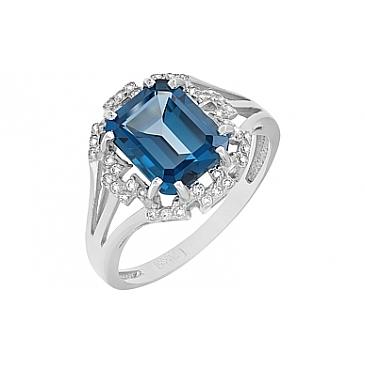 Кольцо с синим топазом и фианитами из белого золота 118596