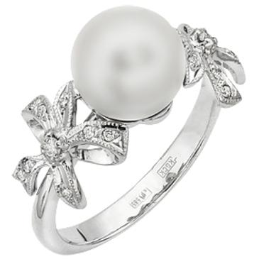 кольцо c жемчугом и бриллиантами из белого золота 13633032