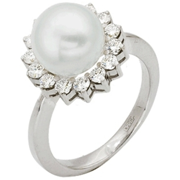 кольцо c жемчугом из белого золота 13631953