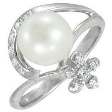кольцо c жемчугом из белого золота 13632771