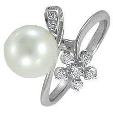 кольцо c жемчугом из белого золота 13632874