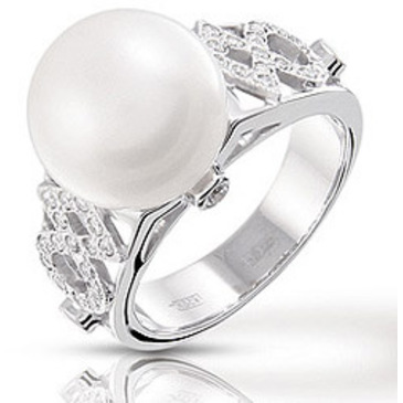 кольцо c жемчугом из белого золота 13633186
