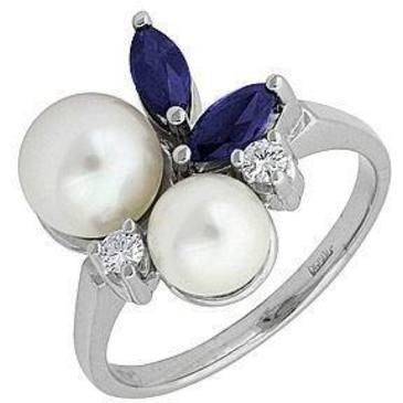 кольцо c жемчугом из белого золота 13672077