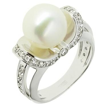 кольцо c жемчугом из белого золота 13638728