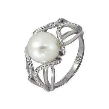 кольцо c жемчугом из белого золота 13638534