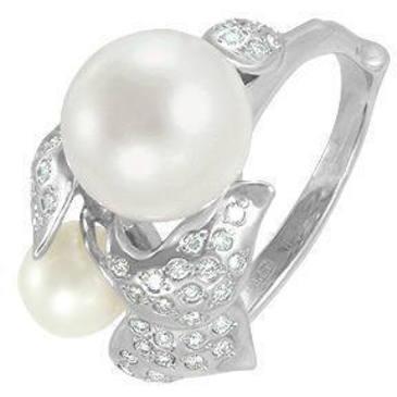 кольцо c жемчугом из белого золота 13632838
