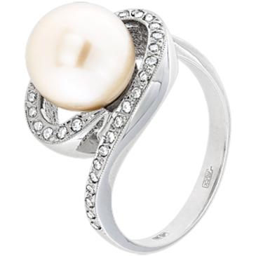 кольцо c жемчугом из белого золота 13633677