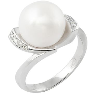 кольцо c жемчугом из белого золота 13633678
