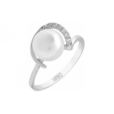 Кольцо с бриллиантом и жемчугом из белого золота 96851