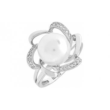 Кольцо с бриллиантом и жемчугом из белого золота 100023