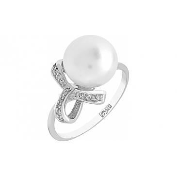 Кольцо с бриллиантом и жемчугом из белого золота 100024
