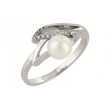 Кольцо с жемчугом и фианитом из белого золота 76956