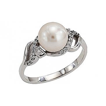 Кольцо с жемчугом и фианитом из белого золота 76947
