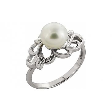 Кольцо с жемчугом и фианитом из белого золота 82141