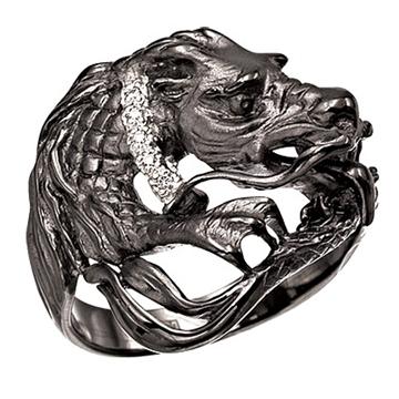 Кольцо 'ДРАКОН' из черного золота К-22039