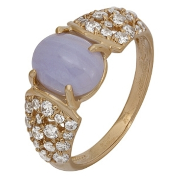 кольцо c агатом и фианитами из красного золота 1980001924