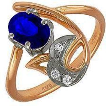 кольцо c аквамарином из красного золота 12051637