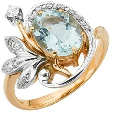 кольцо c аквамарином из красного золота 12051867