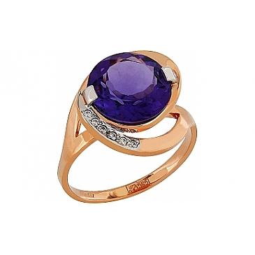 Кольцо с аметистом и фианитом из красного золота 95409 от EVORA